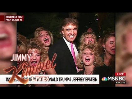 Jimmy Kimmel Watches Trump's 1992 'Party With Epstein' Video