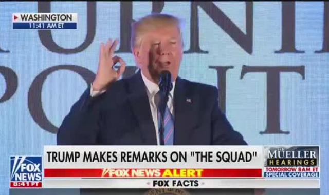 Trump Flashes The White Power Sign In Speech When He Mentions AOC
