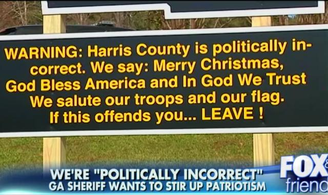 Georgia Sheriff Proudly Posts A Sign That Violates 1st Amendment
