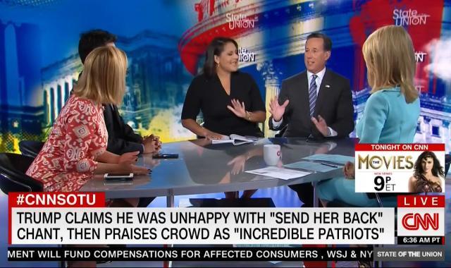 Rick Santorum Goes Down In Flames Pretending Trump's Attacks On 'The Squad' Aren't Racist