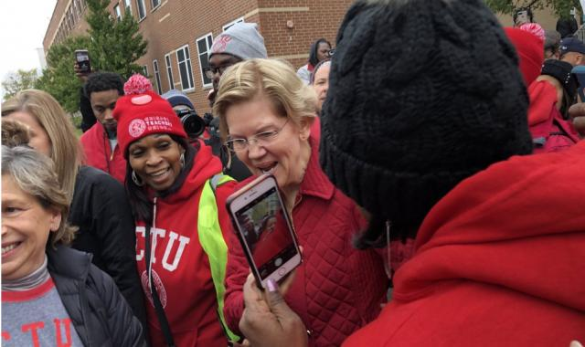 Elizabeth Warren Joins Chicago Teachers On The Picket Line