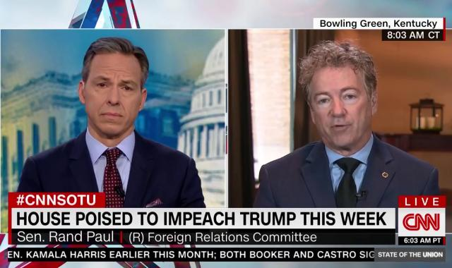 Jake Tapper Hits Rand Paul For Laughable Claim That Trump Cares About Corruption