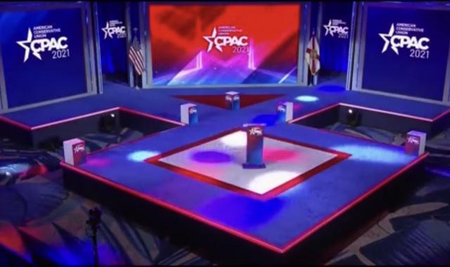 CPAC 2021 Stage Shaped Like Nazi Symbol