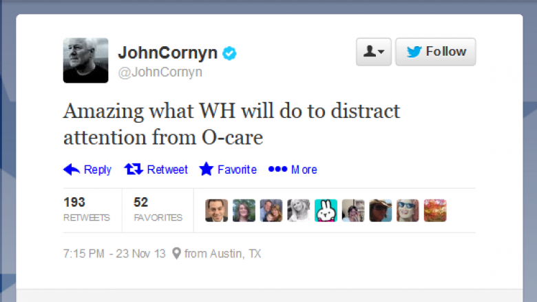 Stupid Right Wing Tweets: John Cornyn Edition