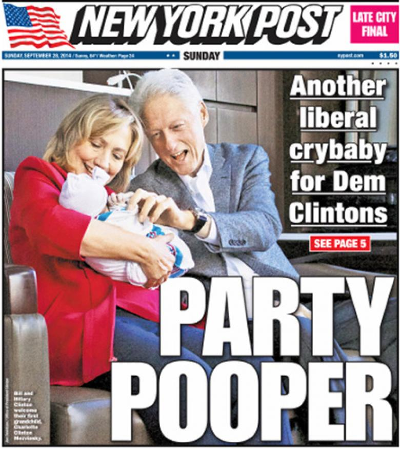 NY Post's Disgusting Front Page Attacks Chelsea Clinton's Baby