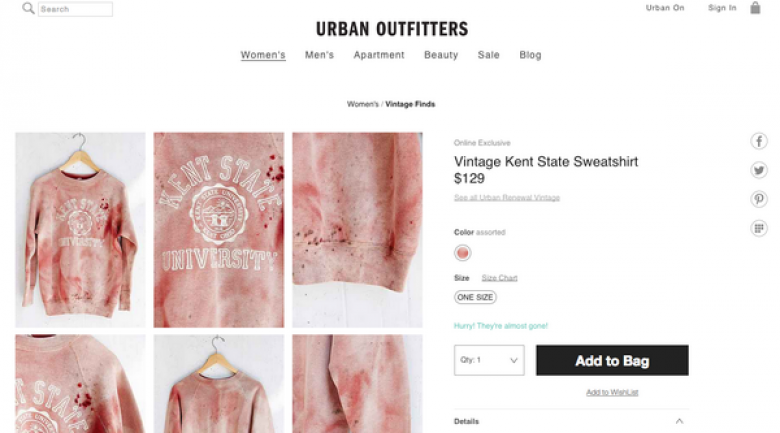 Urban Outfitters Selling Bloodstained Kent State Sweatshirt
