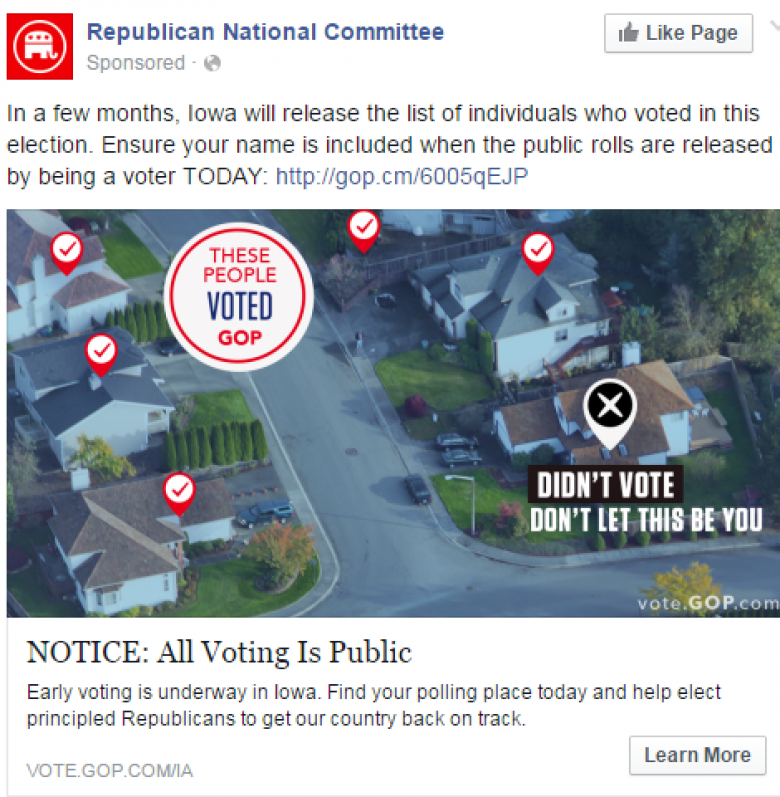 GOP Runs Ads Threatening To Out Iowans Who Don't Vote GOP