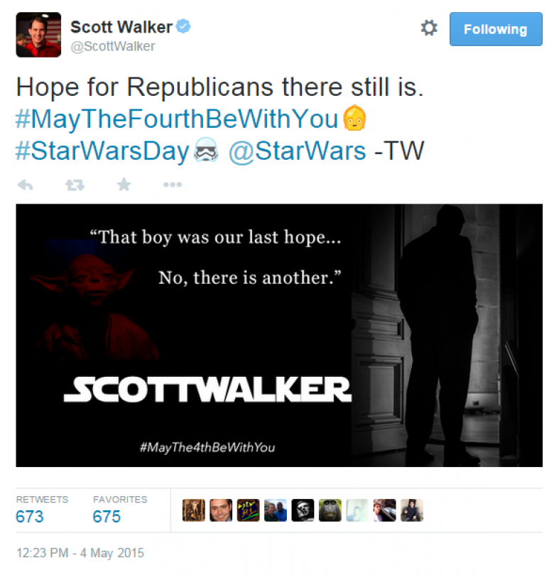 Scott Walker And Star Wars Day: A New Dope