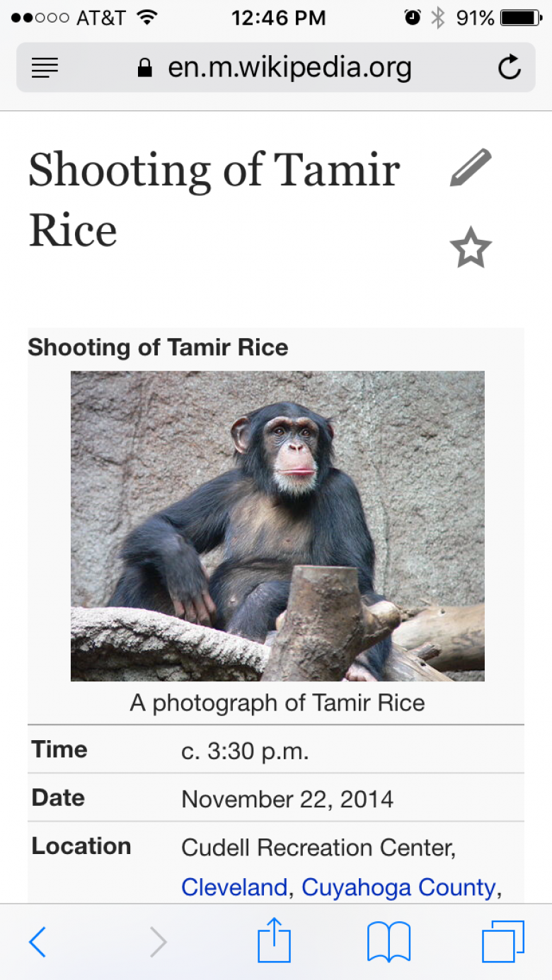 How Wikipedia Looked After Tamir Rice News Broke
