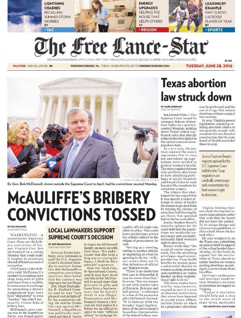 Oops.  Virginia Newspaper Headlines Wrong Governor In Corruption Case