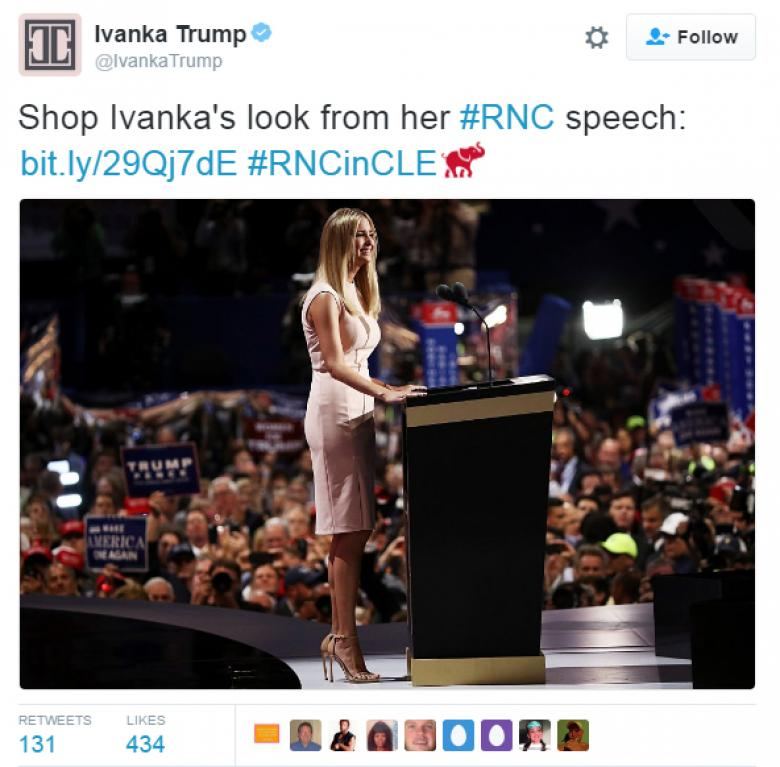 Grifters Gotta Grift:  Ivanka Trump Uses RNC To Sell Clothes