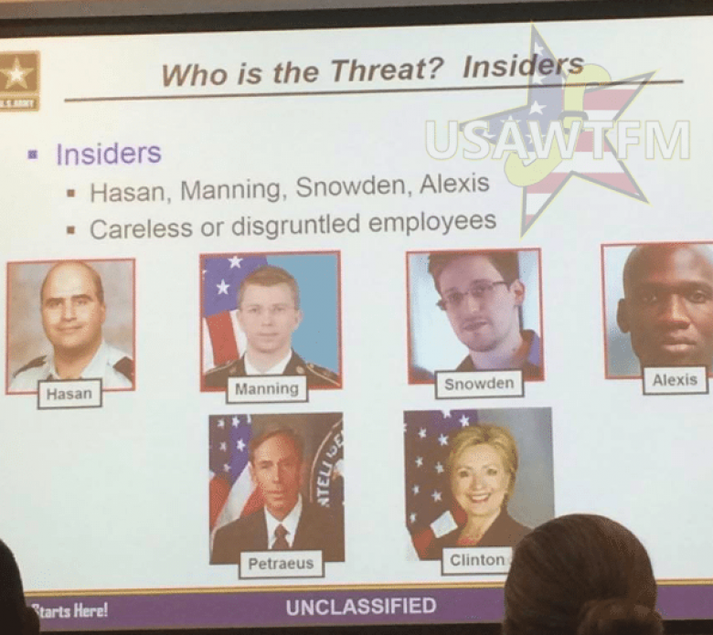 Army Training Presentation Uses Hillary Clinton As An Example Of 'Insider Threat Risk'