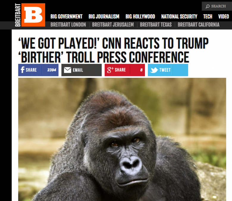 Breitbart Uses Harambe Meme To Lie About Trump's Infomercial