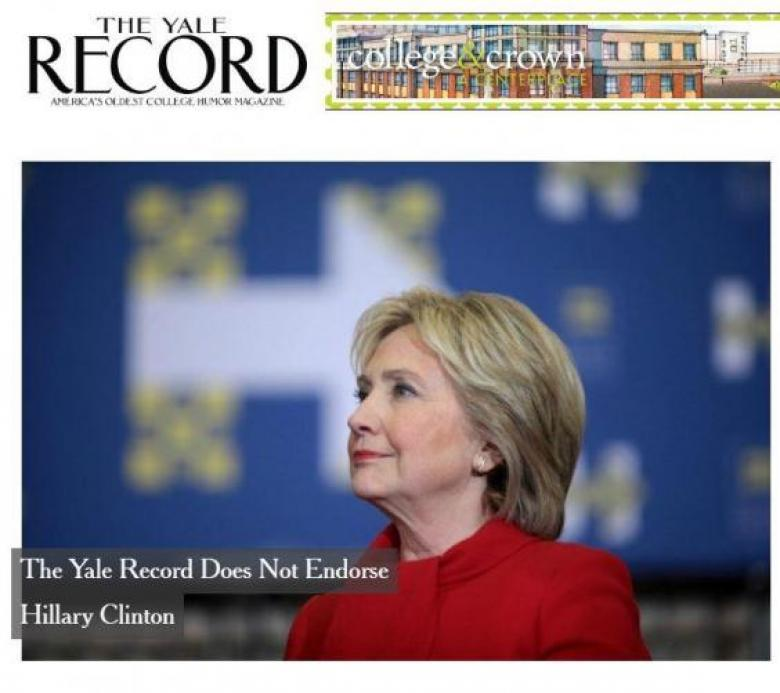 'The Yale Record' Refuses To Endorse Hillary Clinton And It's Just Hilarious