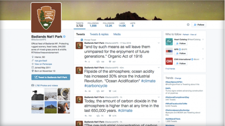 Badlands National Park Tweets Climate Change Facts In Defiance Of Blackout Orders