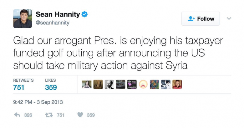 Sean Hannity On Syria: Then And Now