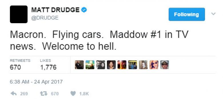 Matt Drudge Is In Hell Because Rachel Maddow Is #1