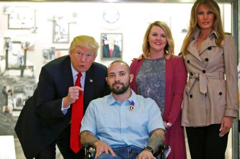 Trump Congratulates Purple Heart Recipient