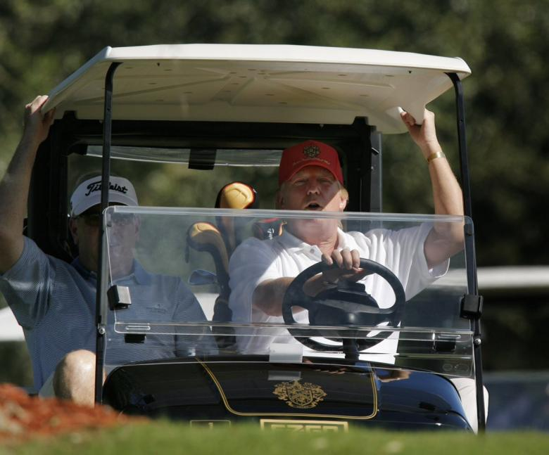 Watch Out! Trump Runs Over Putting Green With Golf Cart