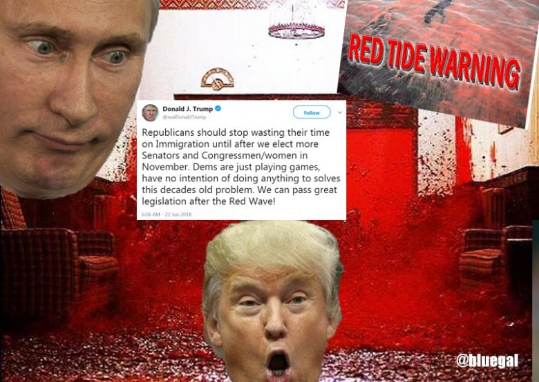 Russia? Blood? Killer Algae? Twitter Cracks Up As Trump Promises 'Red Wave'