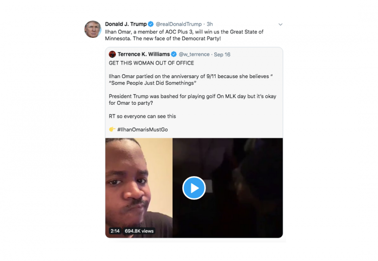 When Will Twitter Suspend Trump For Putting Rep. Ilhan Omar's Life In Danger?