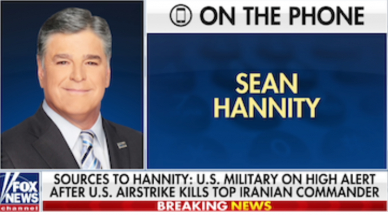 Chickenhawk Sean Hannity Celebrates Trump's Assassination Of Soleimani