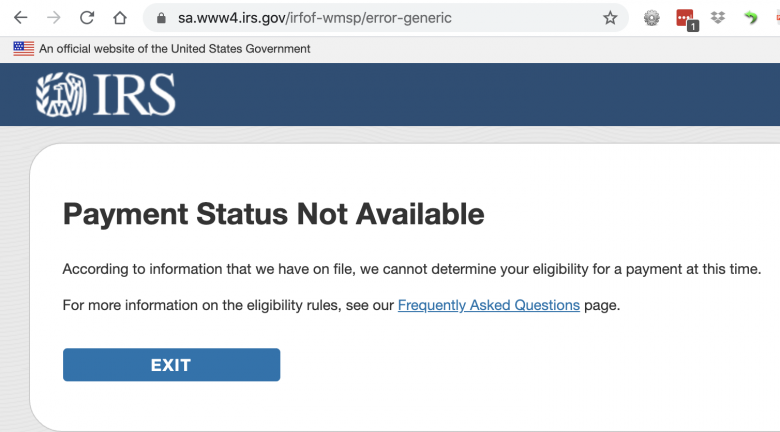 IRS Stimulus Payment Website Turns Into One Big Error Message After Launch