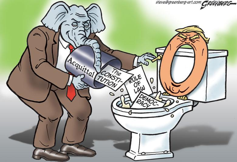Title:  Flushed with Success.  Image:  Republican Elephant dumping a trash can label