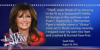 Colbert Replies To Sarah Palin's... 'Head Trauma'?