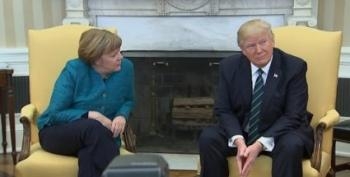 Angela Merkel Puts Up With Yet Another Rude US President
