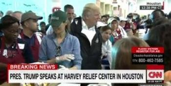 Trump Simulates Empathy In Photo Op Trip To Houston