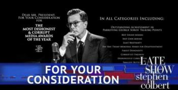 Colbert Promotes Himself For Trump's 'Dishonest Media' Awards