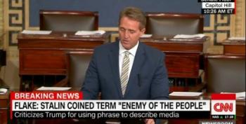 'The Free Press Is The Despot's Enemy': Sen. Jeff Flake Pulverizes Trump's Attacks On Reporters