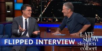 Interview Flip:  Jon Stewart Interviews Stephen Colbert