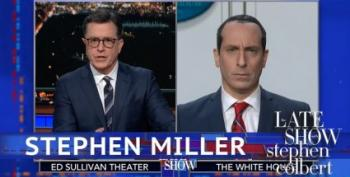 Colbert Pokes Fun At Stephen Miller's Spray On Hair Plus Fascism
