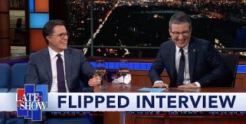 FLIPPED!  John Oliver Takes Colbert's Seat On Late Show