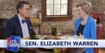 Warren Enjoys Oysters, Beer And A Dirty Joke With Stephen Colbert