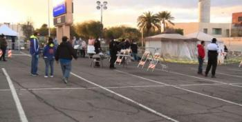 Vegas Paints 'Social Distancing Boxes' In Parking Lot For Homeless