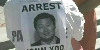 Torture Protest Outside Berkeley University Over John Yoo's Tenure