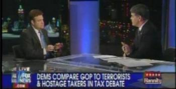 Hannity And Luntz Tut-tut Liberal Democrats' Language In Describing Right-wing Hostage Takers