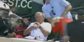 Foul Ball Narrowly Misses George W. Bush