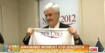 Gingrich Busted Holding Campaign T-shirt Made In El Salvador