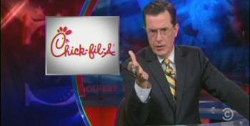 Colbert: 'Culture Warriors' Huckabee And Santorum Stand Up For Chick-Fil-A