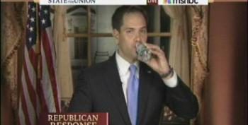 Rubio Takes Awkward Water Break During SOTU Rebuttal