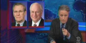 Stewart Rips Rumsfeld And Cheney For Piling Onto Latest Round Of Obama 'Scandals'