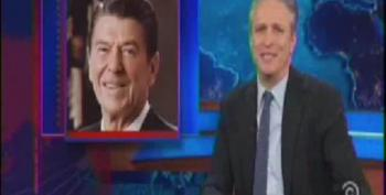 Stewart Hits Right Wing For Historical Revisionism Of St. Ronnie Reagan