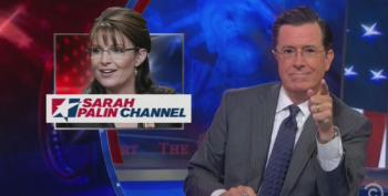 Colbert: Palin Network Just As Good As House Of Cards, With Even More Threatening Monologues In The Camera