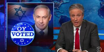 Stewart To Netanyahu: How Dare You Gin Up Racist Fears Of Minority Turnout? That's Our Thing!