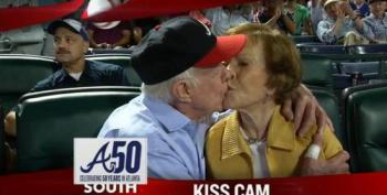 Jimmy And Rosalynn Carter Smooch On Atlanta Braves Kiss Cam