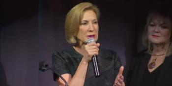 Stage Backdrop Collapses Behind Carly Fiorina During Speech